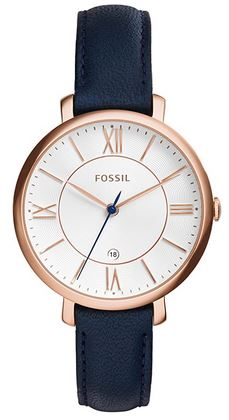 Fossil Jacqueline blanche bleu et rose gold montre analogique pour femme