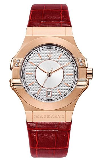 Maserati Potenza montre pour femme avec bracelet de cuir rouge et boitier dore