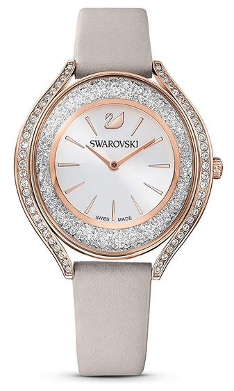 Montre Swarovski femme Crystalline Aura avec bracelet en cuir beige
