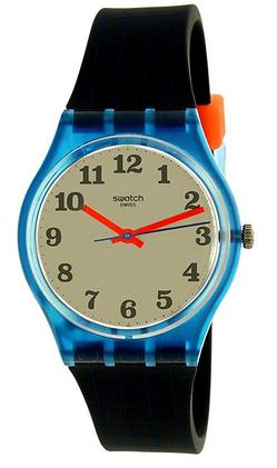 Montre a quartz avec bracelet noir et cadran bicolore de la marque Swatch