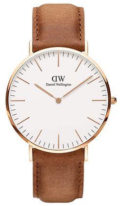 Montre a quartz masculine Daniel Wellington classic Durham blanche et marron claire