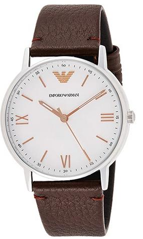 Montre a quartz masculine Emporio Armani avec bracelet en cuir marron