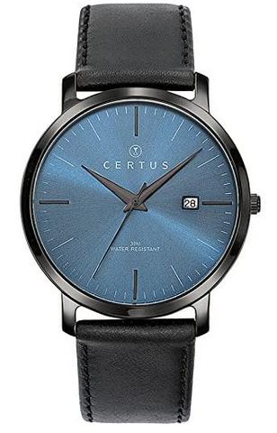 Montre analogique Certus avec bracelet en cuir noir