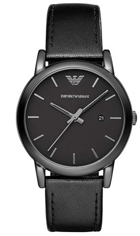 Montre analogique a quartz pour homme Emporio Armani avec bracelet en cuir noir