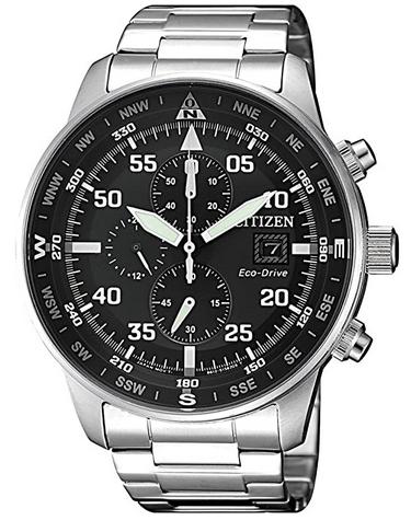 Montre chronographe Aviator pour homme Citizen avec cadran noir