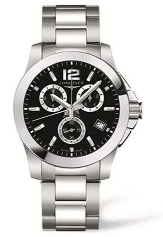 Montre chronographe masculine Longines avec cadran noir