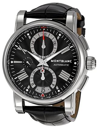 Montre chronographe masculine Montblanc avec cadran et bracelet noir