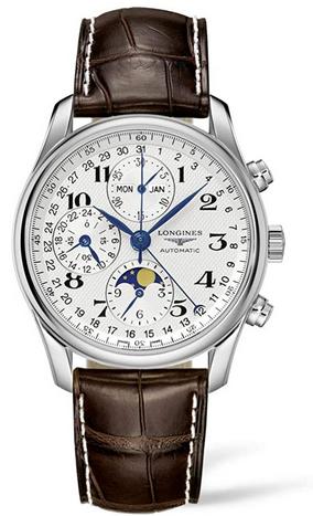 Montre chronographe pour homme Longines avec bracelet en cuir marron