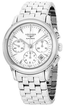 Montre classique chronographe pour homme Longines avec bracelet en argent