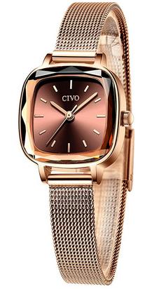 Montre elegante a quartz pour fille en or rose de la marque Civo