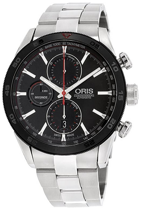 Montre masculine Oris avec cadran noir et bracelet en acier inoxydable