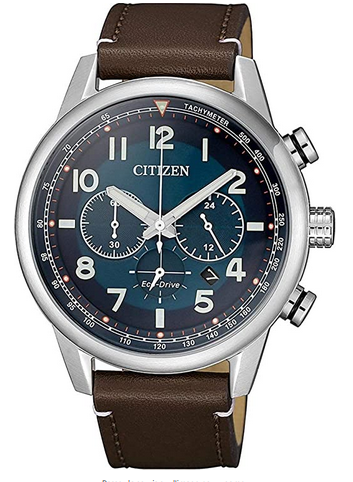 Montre masculine de la marque Citizen avec bracelet en cuir marron