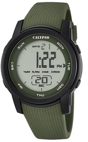 Montre numerique Calypso avec bracelet en plastique kaki