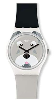 Montre pour enfant avec bracelet bicolore et cadran ours par Swatch