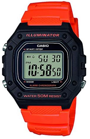 Montre pour garcon avec bracelet en resine orange et cadran noir de Casio