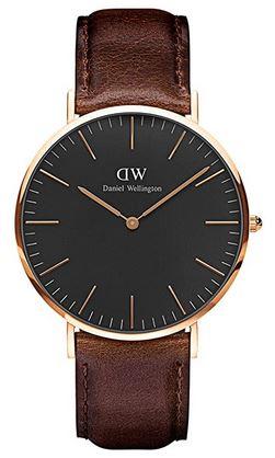 Montre pour homme Daniel Wellington classic Bristol noir et bracelet marron