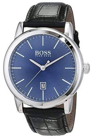 Montre pour homme Hugo Boss a quartz avec bracelet en cuir noir