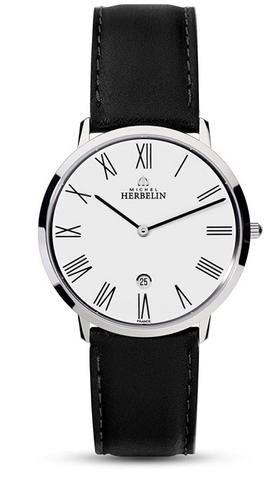 Montre pour homme Michel Herbelin avec bracelet en cuir noir