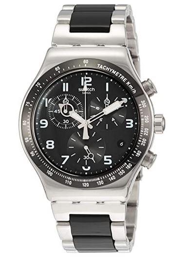 Montre pour homme Swatch chronographe noir et blanc