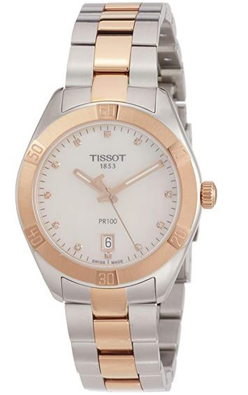 Tissot PR100 en acier couleur or rose