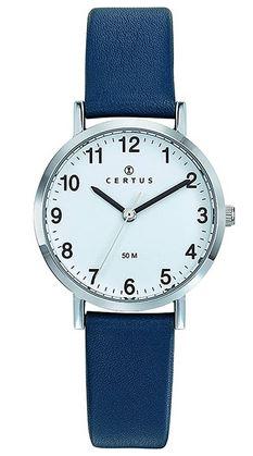 certus pour femme montre blanche avec un boitier en argent et un bracelet en cuir bleu marine