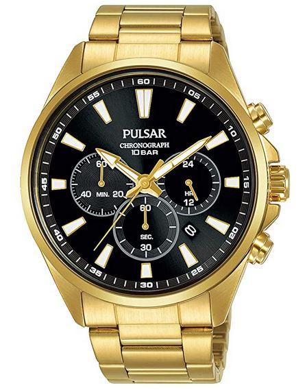 chronograph dore avec cadran noir de Pulsar pour homme