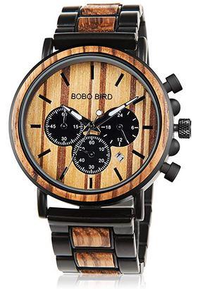 chronograph en bois original pour homme marque Bobobird mecanisme a Quartz