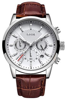 chronographe Lige cadran blanc et argente pour homme