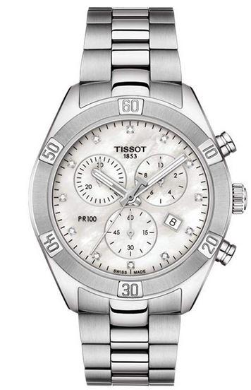 chronographe PR100 pour femme de Tissot couleur argente avec cadran nacre