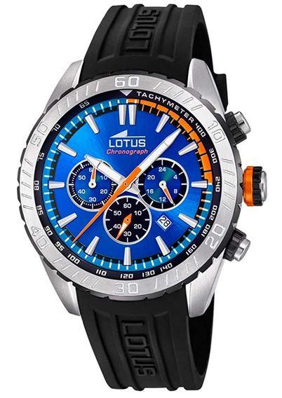chronographe cadran bleu et bracelet silicone pour homme de Lotus modele 18679 4