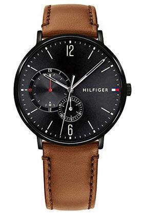 chronographe cadran noir et cuir marron Tommy Hilfiger pour homme