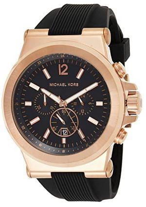 chronographe de luxe avec boitier dore et bracelet en silicone noire de Michael Kors