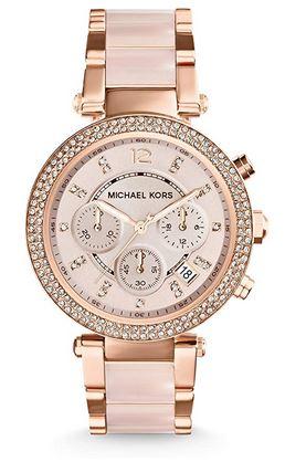 chronographe de luxe pour femme en acier rose gold de la marque Michael Kors