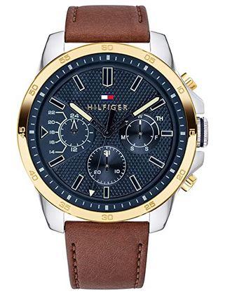 chronographe dore avec cadran bleu et bracelet cuir marron Tommy H pour homme