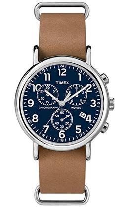 chronographe feminin de Timex montre entree de gamme avec bracelet en cuir marron et cadran bleu
