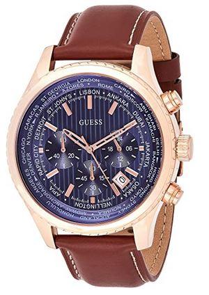 chronographe masculin de Guess avec bracelet en cuir marron