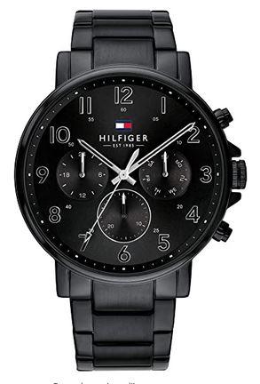 chronographe masculin tout noir avec bracelet en maille milanaise de Tommy Hilfiger