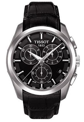 chronographe noir masculin pour Tissot avec aiguilles en argent
