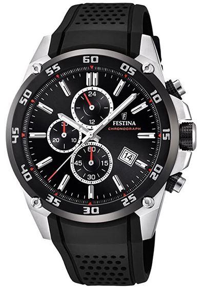 chronographe noir pour homme de Festina avec bracelet en silicone percee noir