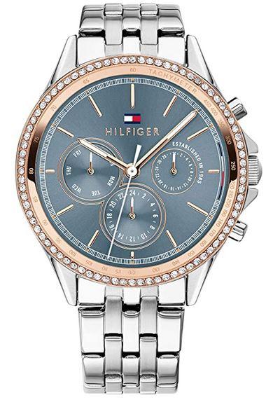 chronographe pour femme Tommy Hilfiger avec boitier rose gold bracelet en acier et cadran gris fonce