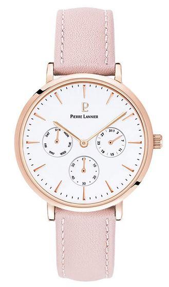 chronographe pour femme de Pierre Lannier avec bracelet en cuir rose boitier dore et cadran blanc