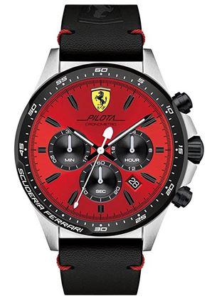 chronographe rouge avec bracelet en cuir noir de la marque Ferrari modele Scuderia