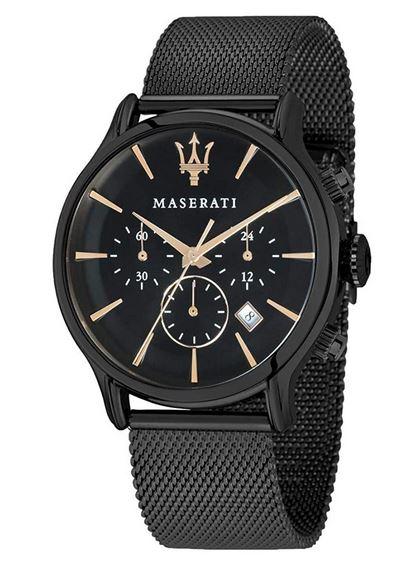 chronographe tout noir pour homme marque Maserati avec bracelet de mailles milanaises