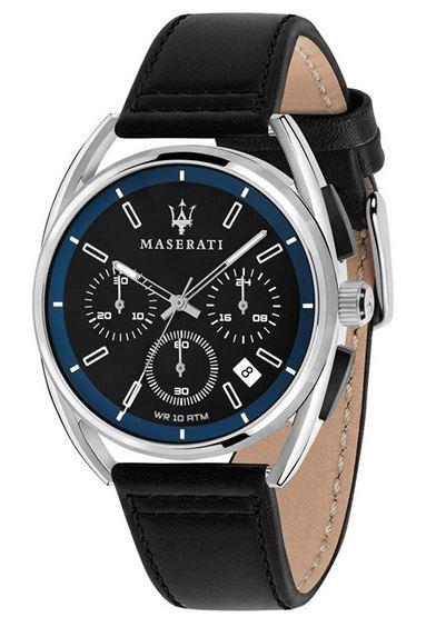 chronographe tout noir pour homme marque Maserati