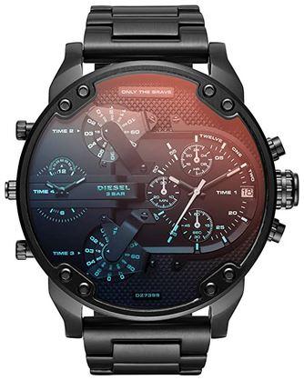 diesel only the brave montre pour homme large cadran noir et bleu clair