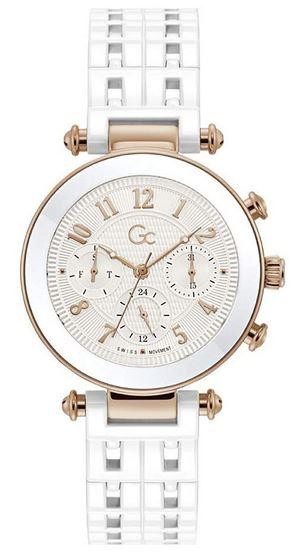 luxueuse montre GC pour femme toutes blanches avec des details dores