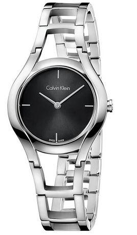 montre Calvin Klein au cadran gris fonce avec un bracelet original semi vide pour femme