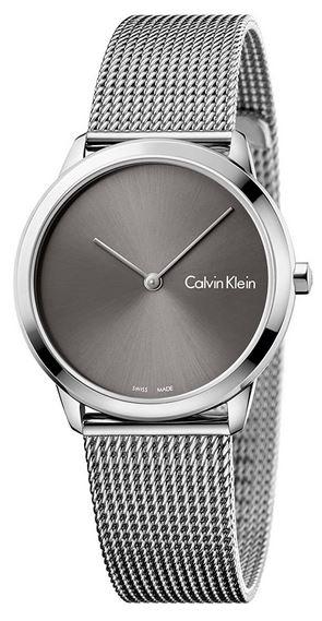 montre Calvin Klein femme avec bracelet en mailles milanaises argentee et cadran gris fonce