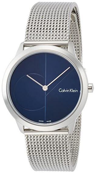 montre Calvin Klein pour femme modele K3M2212N bleu et argente