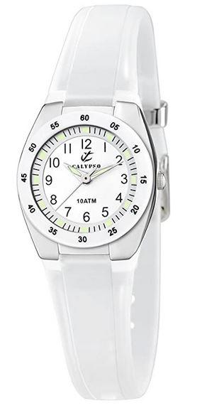 montre Calypso pour femme avec bracelet blanc et cadran analogique blanc